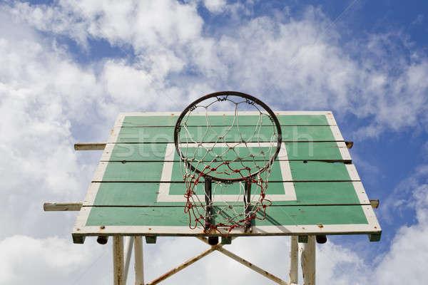 A basketball basket on weathered green wooden facade. Basketball Stock photo © art9858
