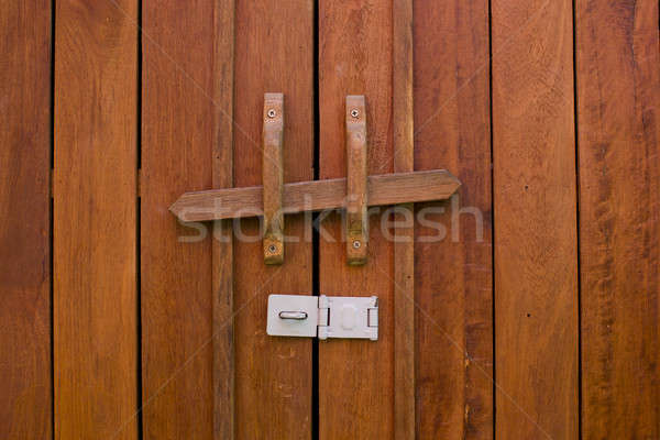 Obsolete wooden door bolt, Thai tradition Stock photo © art9858