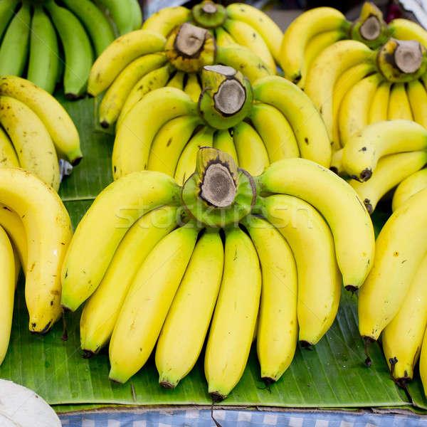 Köteg banán banán levél fa háttér Stock fotó © art9858