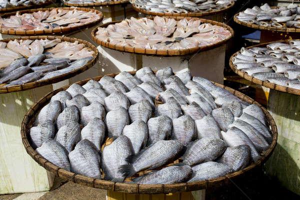 Sundry Snake Skin Gourami Fish in a bamboo basket. Thailand Stock photo © art9858
