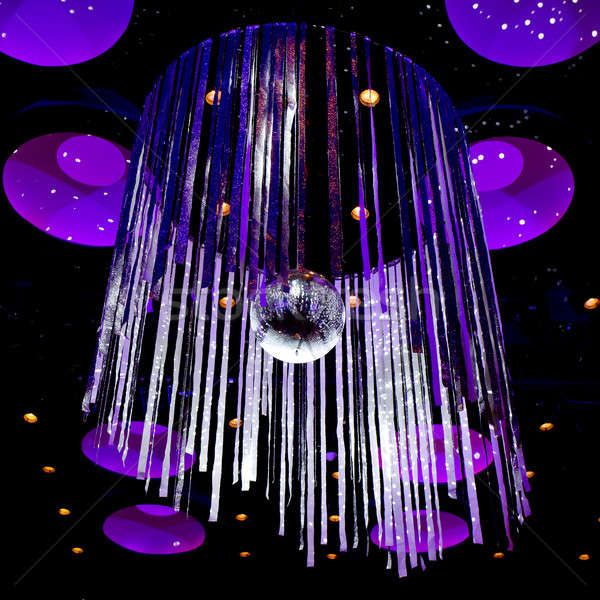 Disco ball with silver sparkle ribbon background Stock photo © art9858