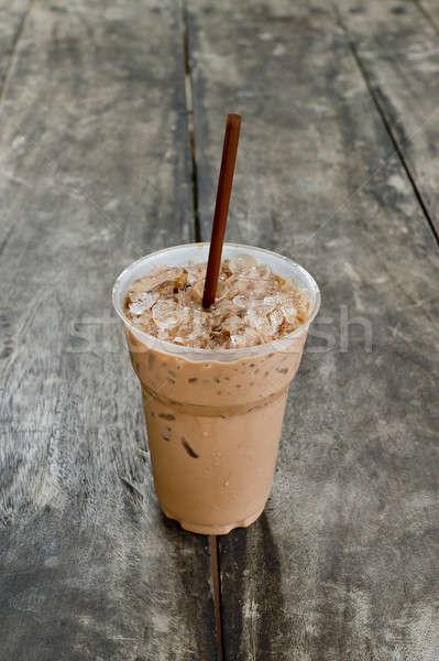 ストックフォト: 冷たい · コーヒー · ドリンク · 氷 · 古い木材 · 表