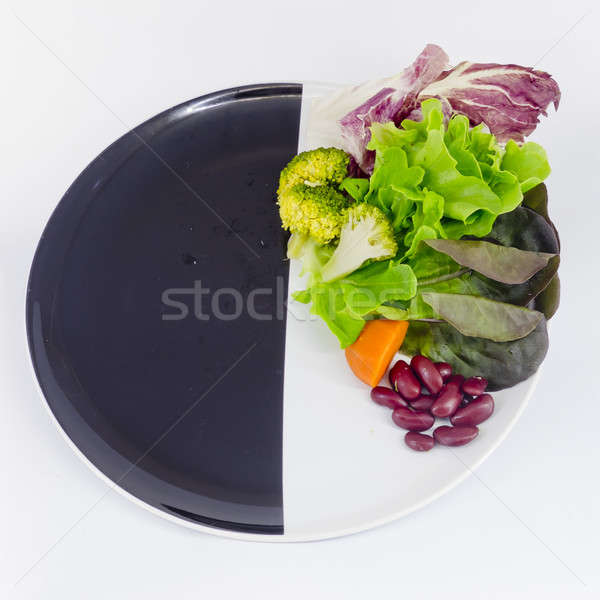 vegetable salad on plate with blank spcae for wording Stock photo © art9858