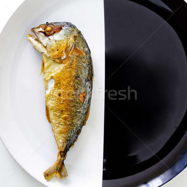 mackerel isolate on black and white background Stock photo © art9858