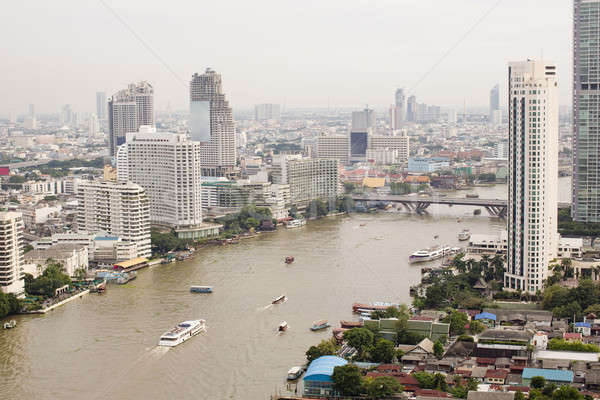 top view ship on Chao Phraya river, bridge and city scape in Ban Stock photo © art9858