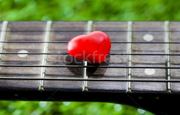 Szív nyak fű virág szeretet gitár Stock fotó © art9858