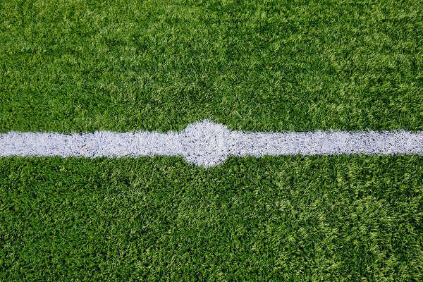 Straight white chalk line marking on grass background. Stock photo © art9858