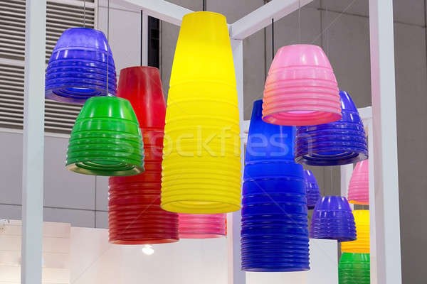 colorful round stylish lampshades hang from ceiling Stock photo © art9858