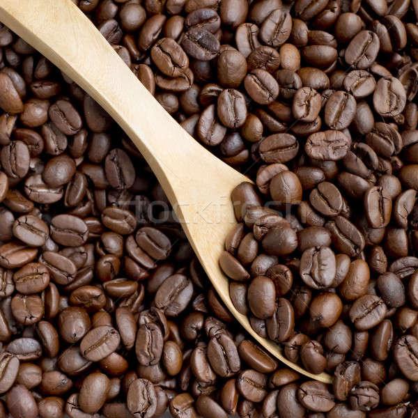 Kávébab merítőkanál fakanál kávé absztrakt háttér Stock fotó © art9858