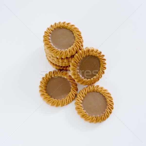 餅乾 堆 白 巧克力 背景 吃 商業照片 © art9858