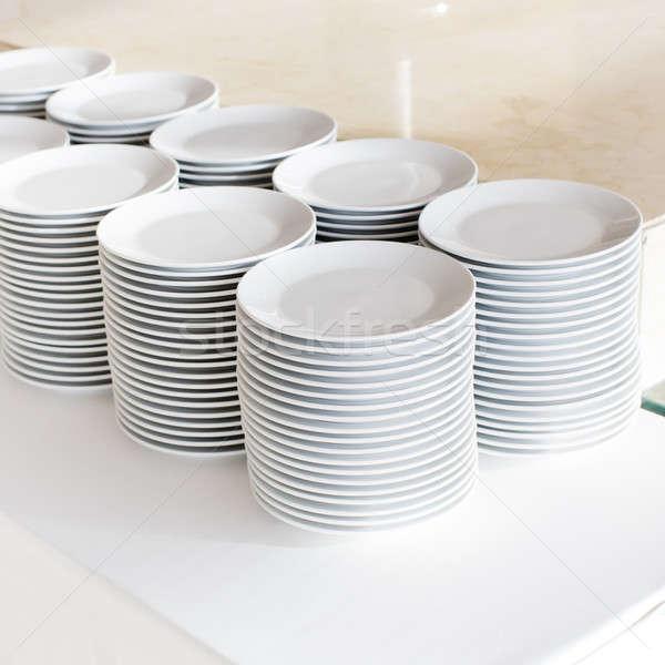 пластин фон кухне белый чистой Сток-фото © art9858