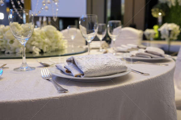Stock photo: Elegance table set up for dinning room with white color concept