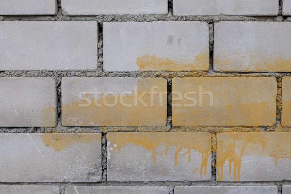 Grijs muur muur Blauw baksteen behang Stockfoto © art9858