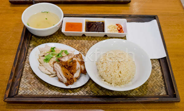 Hainanese Chicken Rice - Mixed Boil Chicken and Crisy Chicken Stock photo © art9858