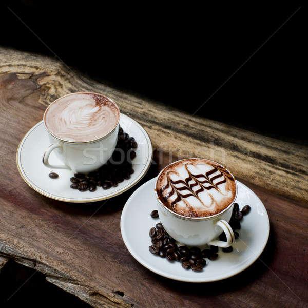 Copo café mesa de madeira textura fundo espaço Foto stock © art9858
