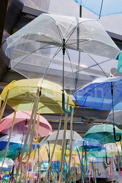Street decorated with colored umbrellas Stock photo © art9858