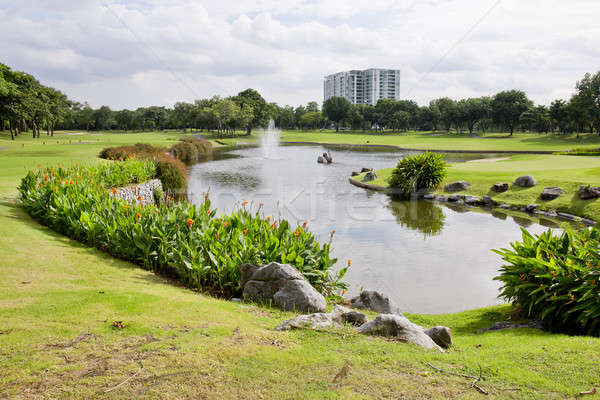 Wide view nice park with pond in sunny day Stock photo © art9858