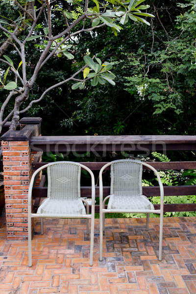 Fuera puerta Pareja sillas casa madera Foto stock © art9858