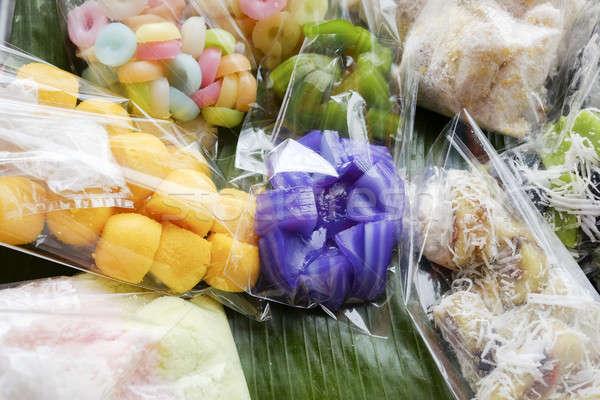 Thai dessert - many kind of Thai dessert in plastic bag at marke Stock photo © art9858