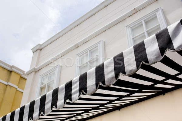 black and white striped sunblinds Stock photo © art9858