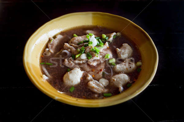 Noodles with pork and pork balls with soup Thai style. Thai peop Stock photo © art9858