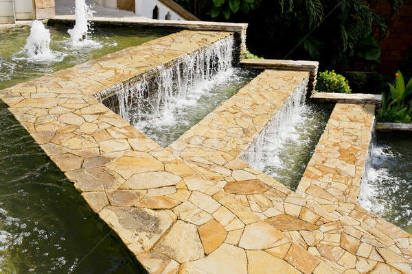 streams of clear water on marble steps Stock photo © art9858