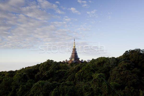 Bella pagoda top montagna Thailandia fiore Foto d'archivio © art9858