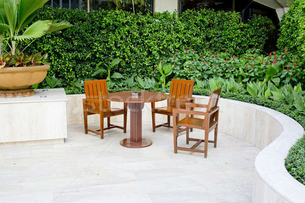 Tables and chairs of outdoor cafe in Hotel. Stock photo © art9858