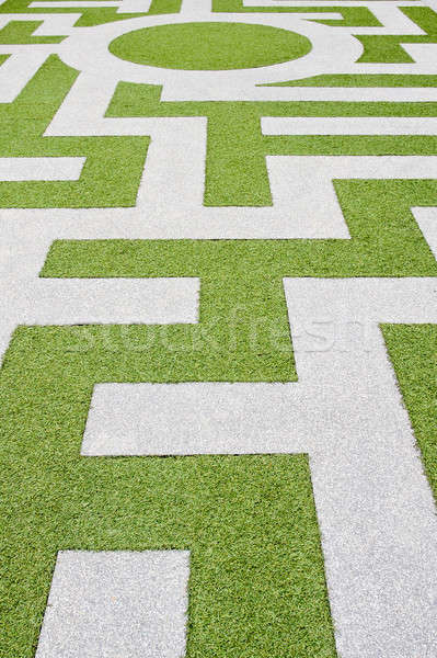 Detail gras labyrint huis tuin zomer Stockfoto © art9858