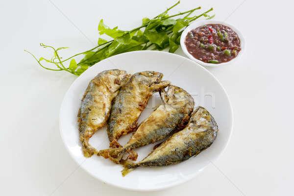 Shrimp Paste Chilli Sauce (Nam Prik Ka Pi) serve with Fried Indi Stock photo © art9858