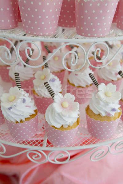 Foto stock: Casamento · comida · rosa · azul · prato