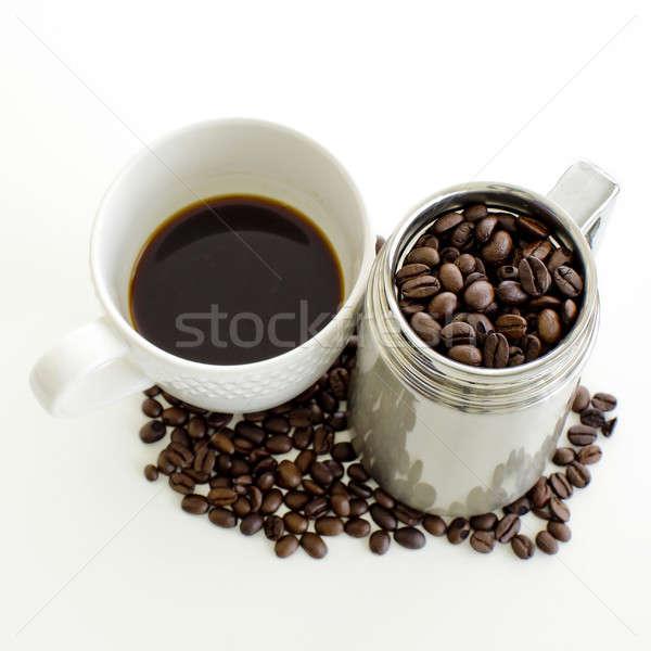 Xícara de café grão de café branco beber copo quente Foto stock © art9858