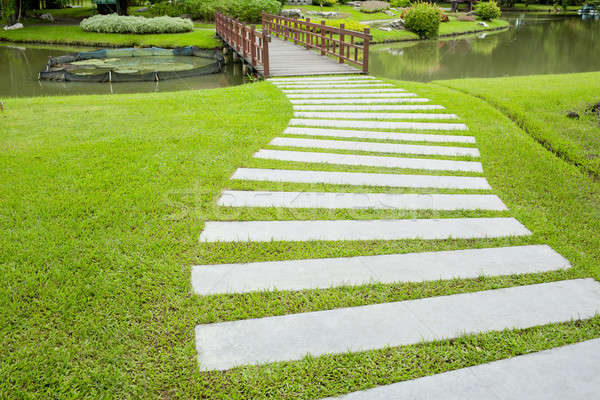 The Stone block walk path in the park with green grass backgroun Stock photo © art9858