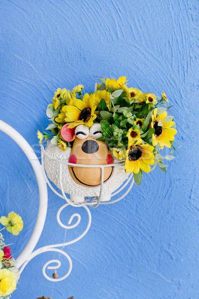 beautiful bouquet of bright wildflowers in flowerpot Stock photo © art9858