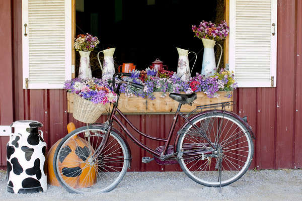 Window Decorated with Flowers in jugs and nice bicycle Stock photo © art9858