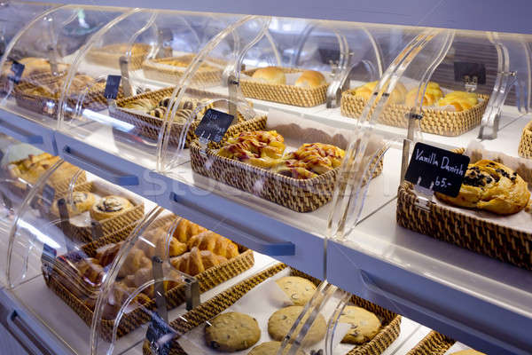 Variety of baked products in baskets with bread name and price o Stock photo © art9858