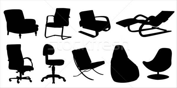 Sandalye dizayn siluet ayarlamak elemanları ofis Stok fotoğraf © artag