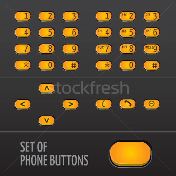 набор телефон Кнопки Элементы изолированный цветами Сток-фото © artag
