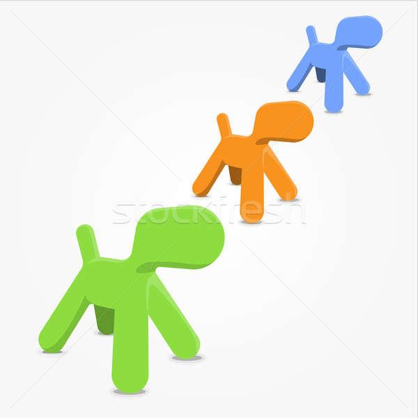 Köpek dizayn nesne ayarlamak vektör renkli Stok fotoğraf © artag