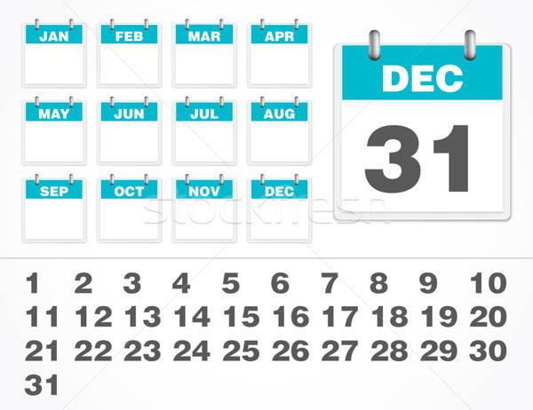 Vetor calendário número conjunto elemento isolado Foto stock © artag