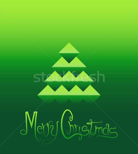 Noel ağacı tebrik kartı Noel stilize kâğıt mutlu Stok fotoğraf © artag
