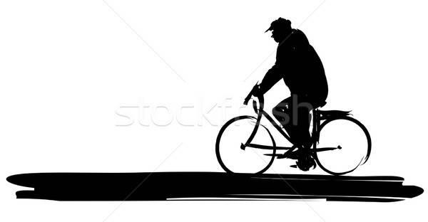 Adam bisiklet vektör boyalı siluet spor Stok fotoğraf © artag