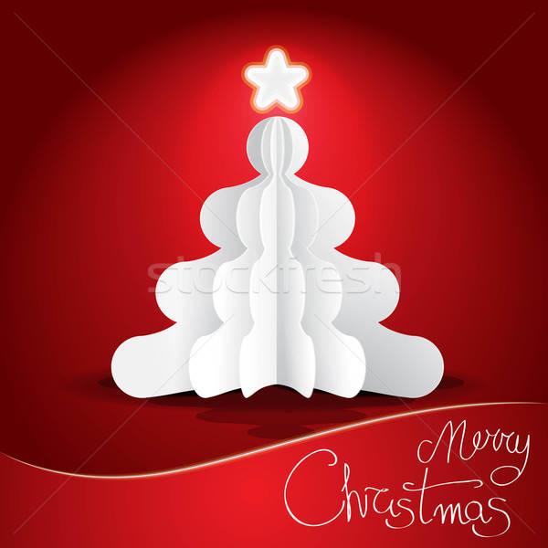 Рождества иллюстрация Label дерево Сток-фото © artag