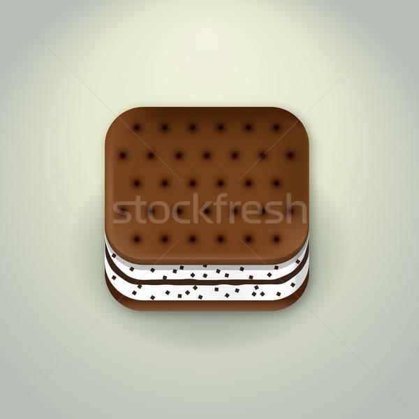 Bisküvi ikon örnek kek süt Stok fotoğraf © artag