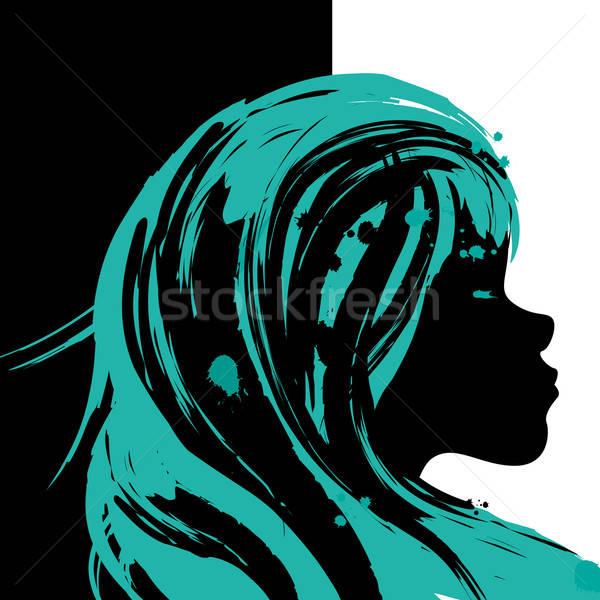 Kız örnek tuval vektör boyama stilize Stok fotoğraf © artag
