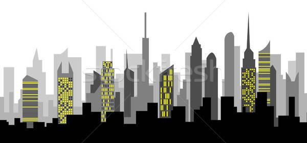 небоскреба иллюстрация пейзаж бизнеса небе здании Сток-фото © artag