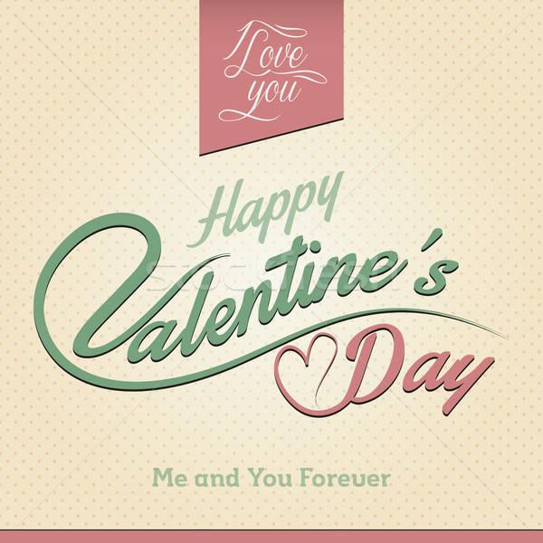Mutlu sevgililer günü tebrik kartı elemanları yalıtılmış renkler Stok fotoğraf © artag