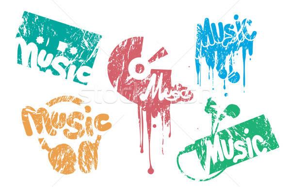 Müzik damga ayarlamak renk parti çerçeve Stok fotoğraf © artag