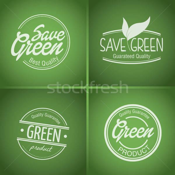 зеленый продукт штампа Label набор вектора Сток-фото © artag