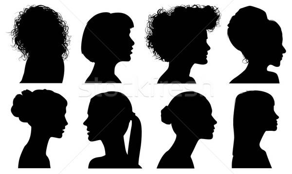 Yüz kadın profil vektör siluetleri ayarlamak Stok fotoğraf © artag